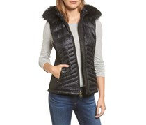 Michael Kors Women's Faux Fur Trim Down Vest, Black