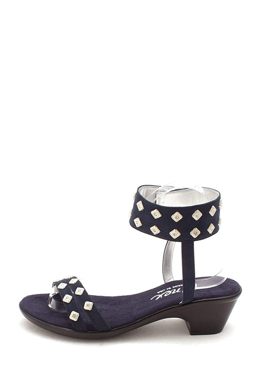 Verona Suede Open Toe Casual Ankle Strap Sandals, Navy Suede