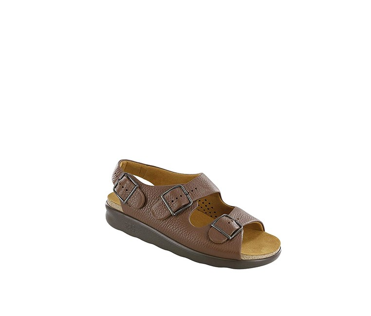 Womens Relaxed Leather Open Toe Casual Sandals, Amber