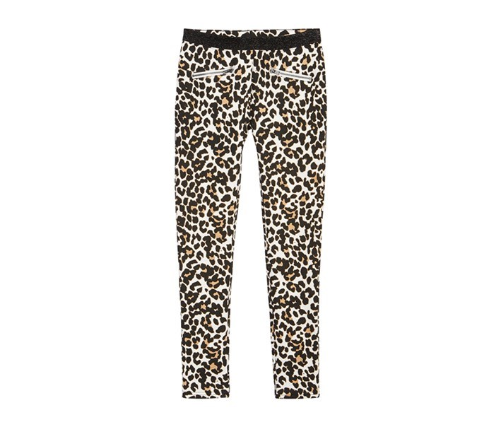 Leopard-Print Ponte Knit Pants, Holiday Ivory/Deep Black