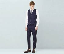 Mango Men's Check Wool-Blend Suit Waistcoat Vest, Navy