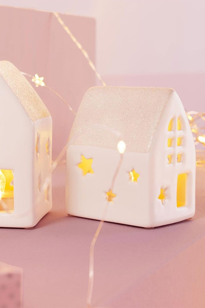 LED Ceramic Houses Set of 2, White