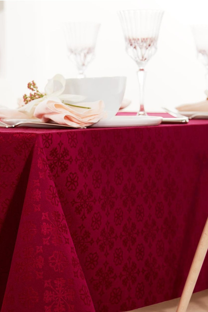 Jacquard Tablecloth, 150 x 275 cm, Red