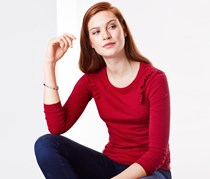 Women's Top With Frills, Red