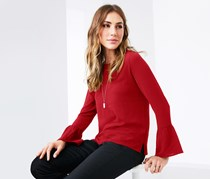 Women's Shirt With Frill Sleeves, Red