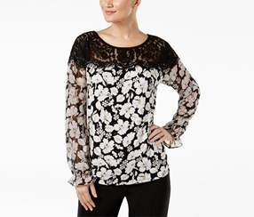 August Silk Mixed-Media Illusion Blouse, Vintage Floral