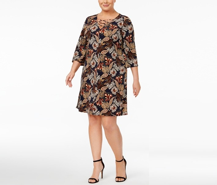 4da6006bb87d4 Shop Jessica Howard Jessica Howard Plus Size Printed Lace-Up Dress ...
