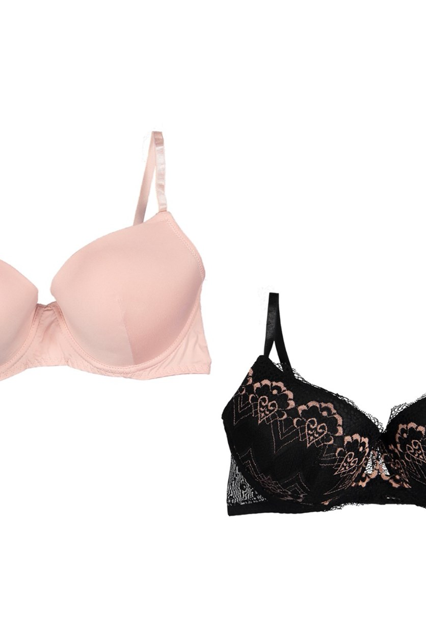 Women's Underwired Bra 2 Pack, Rose Smoke/Black