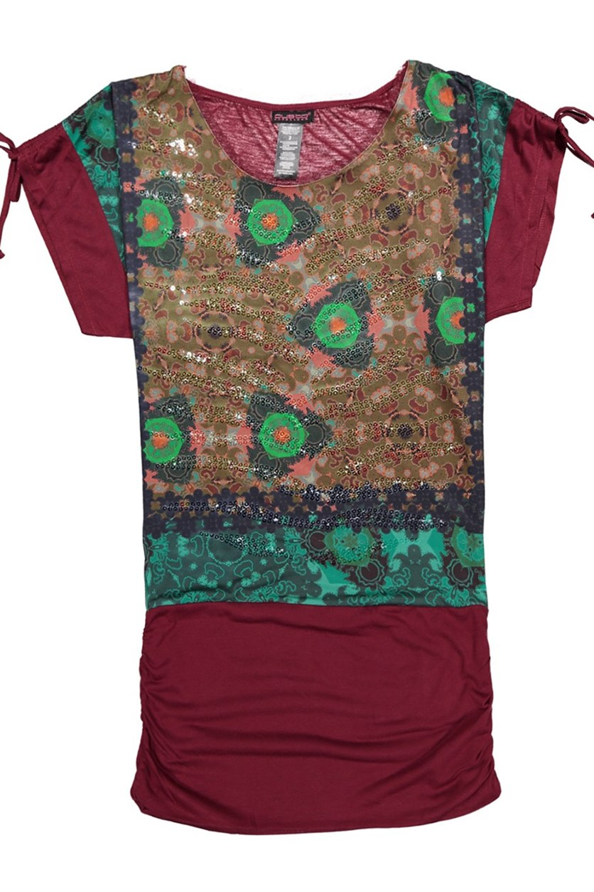 Printed Sequin Tunic Top, Burgundy Combo