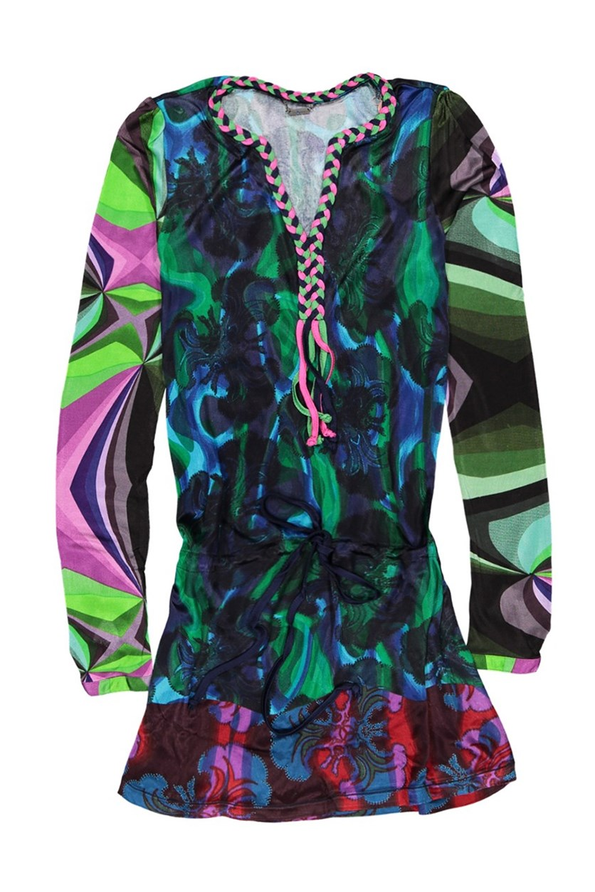 Womens Braided Top, Green Combo