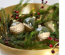 Decorative Ball Set of 3, Golden/Transparent