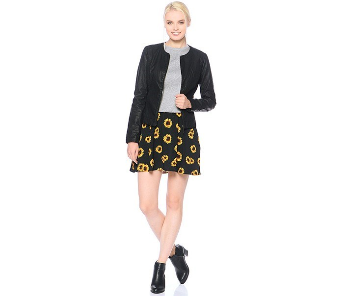 Women's Sun Flower Print Skirt, Black