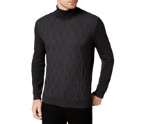 Alfani Mens Diamond Ribbed Sweater, Charcoal Heather