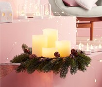 LED Advent Wreath With 4 Candles, Cream/Green