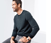 Men's Round Neck Sweater, Dark Blue