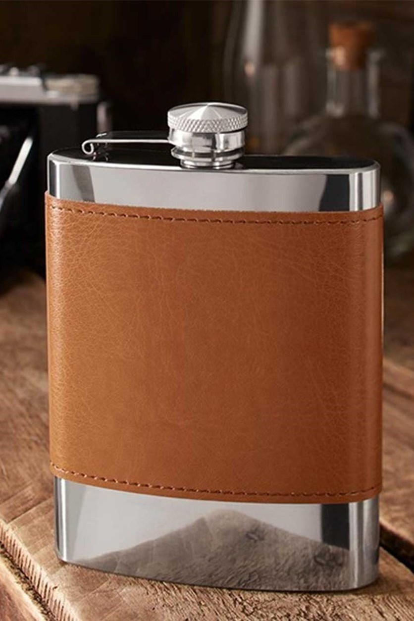 Stainless Steel Pocket Bottle, Silver/Brown