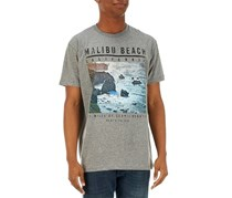 Ocean Current Men's Malibu Beach Print T-Shirt, Grey