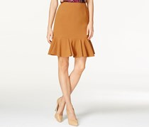 Nine West A-Line Flounce Skirt, Dark Tan