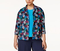 Anne Klein Women's Plus Size Printed Blazer, Navy/White/Orange/Green