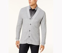 Alfani Men's Ribbed Cardigan Sweater,  Zinc Heather