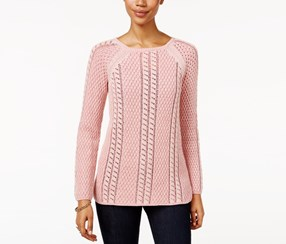 . Petite Textured Sweater, Crushed Petal/Pink Berry