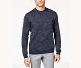 Tasso Elba Mens Paisley Elbow Patch Pullover Sweater, Navy Sable