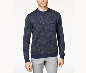 Mens Paisley Elbow Patch Pullover Sweater, Navy Sable