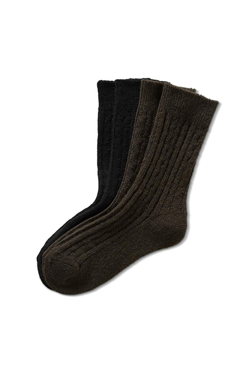 Men's Socks Set of 2, Olive/Anthra