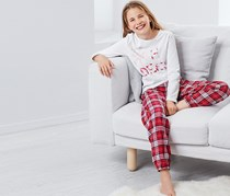 Girls Pajama, White/Red