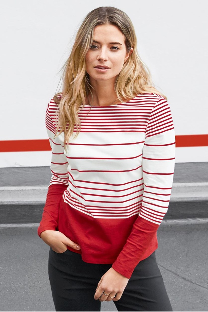 Women's Long Sleeve Shirt, Red/White