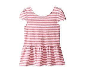Kate Spade New York Girl's Bow Back Peplum Top, Pink/White