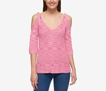 Tommy Hilfiger Womens Space Dyed Tied Pullover, Pink