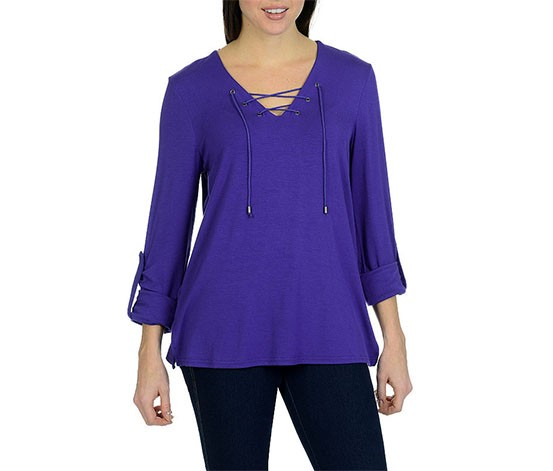 Larry Levine Tie Front Top, Purple
