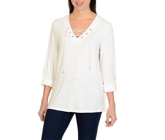 Larry Levine Tie Front Top, White