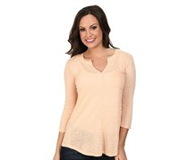 Lucky Brand Three-Quarter-Sleeve Split-Neck Tunic, Pink Sand