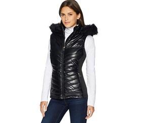 Nanette Lepore Women's Vegan Leather Puffer Hood Down Vest, Black