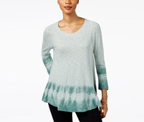 Style & Co Tie-Dyed Top, Dusty Jade