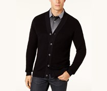 Alfani Men's Ribbed Cardigan Sweater, Deep Black