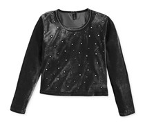 Miss Understood Girls' Embellished Velvet Crop Top, Black