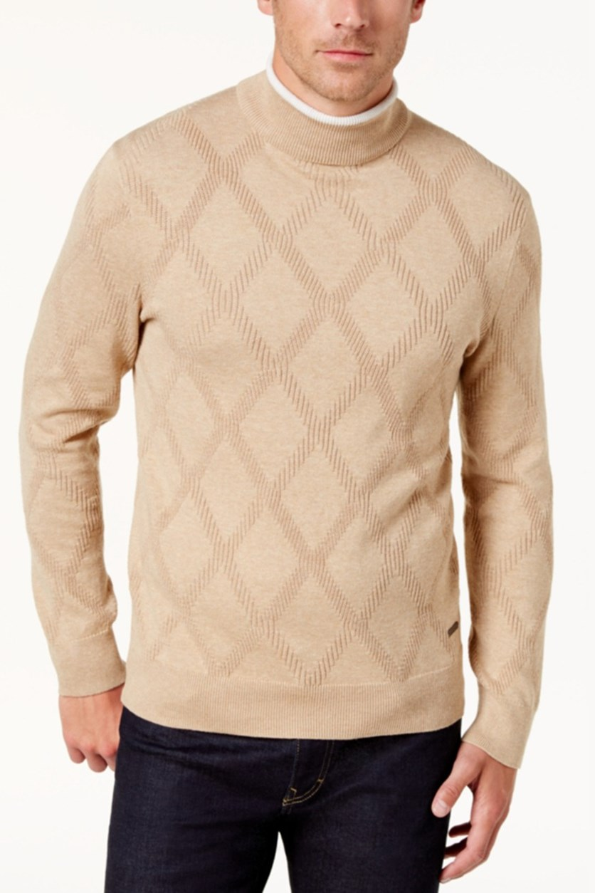 Men's Diamond Pattern Sweater, Camel Melagne