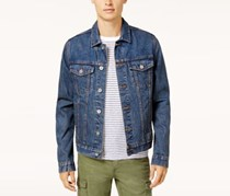 Tommy Hilfiger Mens Graphic-Print Denim Jacket, Medium Wash