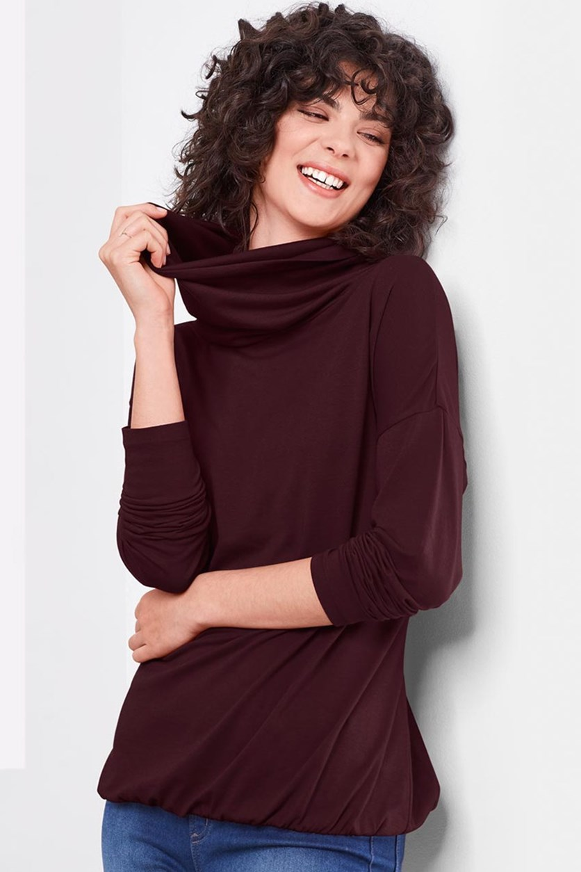 Women's Jersey Turtleneck, Bordeaux