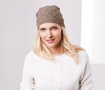 Women's Cable Knit Hat, Brown