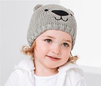 Toddlers Knitted Hat, Light Grey