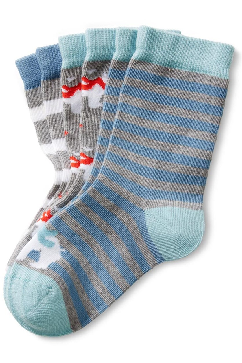 Toddlers Socks Set of 3, Grey/Blue/Red