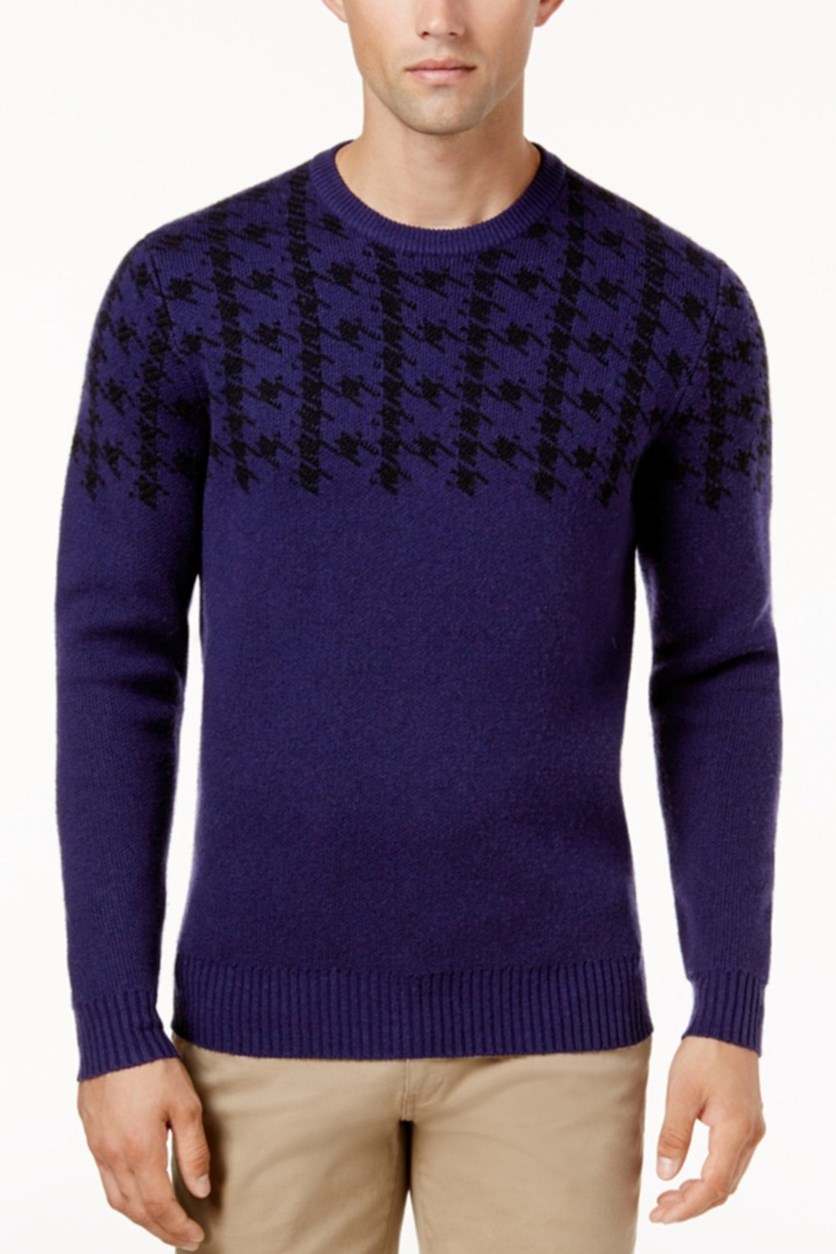 Men's Dogtooth Sweater, Dark Navy