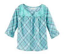 Love Fire Glam Girls' Peasant Top, Green