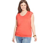 American Rag Cie Lace Trimmed Top, Orange