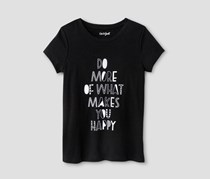 Cat & Jack Girls' Happy Graphic Tee, Black