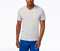 Michael Kors Mens V-Neck Space-Dyed Tee, Rock Grey